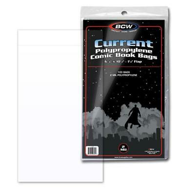 100 Bcw Current Modern Age Comic Book 2 Mil Acid Free Archival Poly Bags