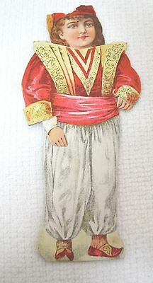 Clark's ONT Thread Paper Doll of Nations Trade Card Die Cut Turkish Boy