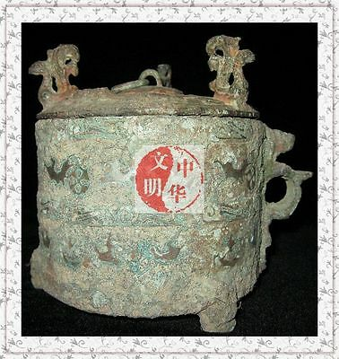 WARRINGSTATESPERIOD RoyalVessel TURQUOISE SILVER WAR PICTURE BRONZE WineWare POT