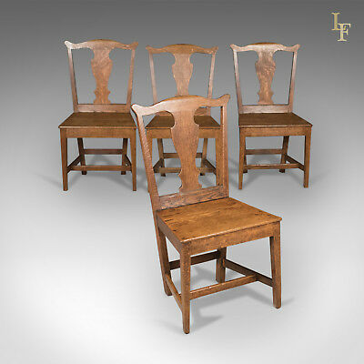 Antique Set of 4 Chairs, English Country Kitchen, Victorian c.1850