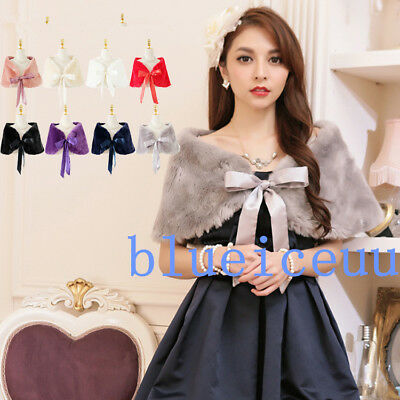 NEW WEDDING shawls FAUX FUR SHRUG BRIDAL BOLERO JACKET Bridesmaids'DRESS Wrap