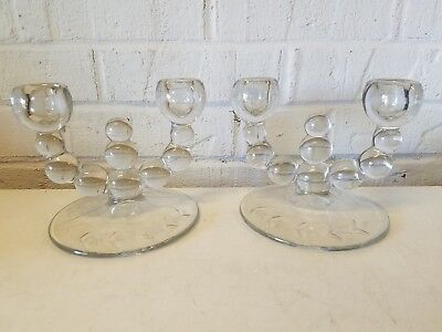 "Vintage ""Nine Ball"" Paden City Pair of Double Candle Holders with Etched Base"