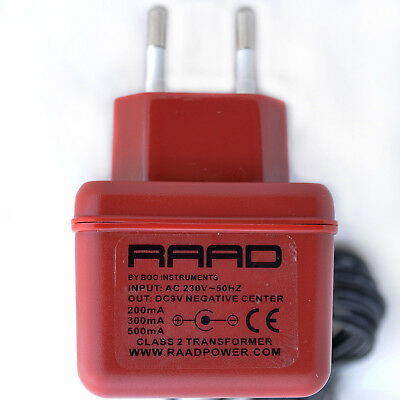 RAAD DC 9V regulated power supply center negative minus tip adapter guitar pedal