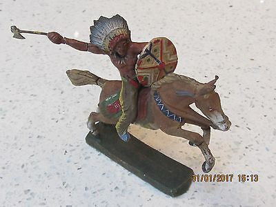 Elastolin 1920 Indian With Shield And Tomahawk On Horseback - Exc. All Original