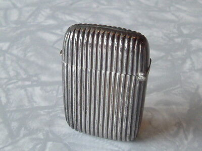 Antique Sterling Silver - Fluted Vesta Case - Birmingham 1899 1900 - VGC