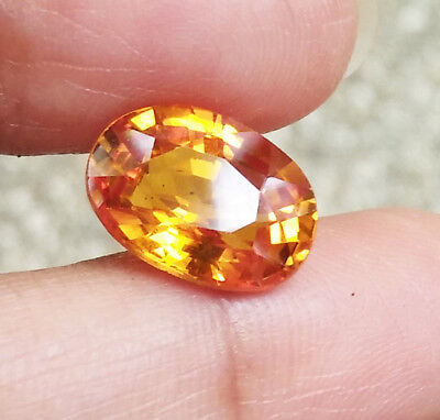 5.30ct. 12x8.5 mm. LAB CORUNDUM YELLOW SAPPHIRE  OVAL CUT TOP QUALITY AAA+
