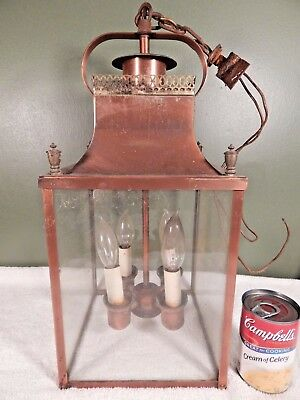 Large Vintage Or Antique Copper Hanging 4 Bulb Porch Light To Restore