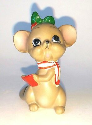 Vintage Cute Christmas Singing Mouse Figurine