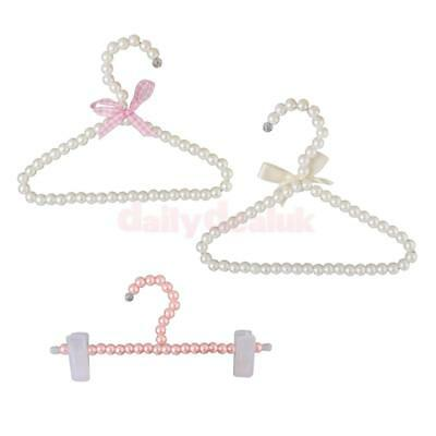 3 Pack of Plastic Pearl Bow Clothes Hangers Hook for Children Kids Bowknot