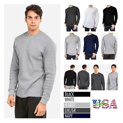 Mens Long Thermal T-Shirt Crew Neck Casual Outdoor Sweatshirt  Sweater Underwear