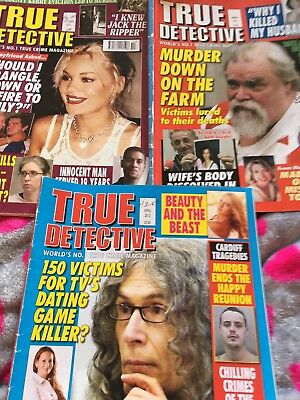 Bundle Used 3 True Detective Magazines Murder 2012-2014 Great Read