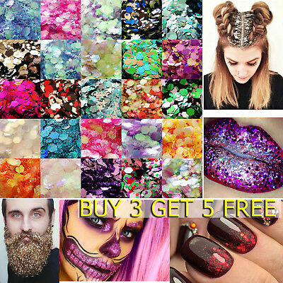 Chunky Glitter Pots Mixed Flake Body Art Nail Hair Eye Lip Cosmetic Tattoo Art