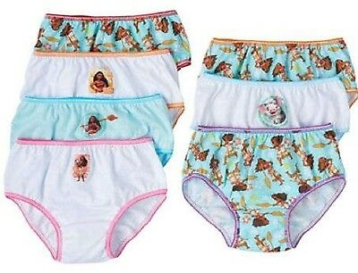 Disney Moana 7-Pack Panties Briefs Sizes 4, 6, 8