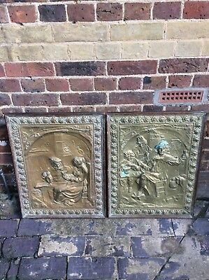 Vintage brass  decorative panels plaques wall hanging picture