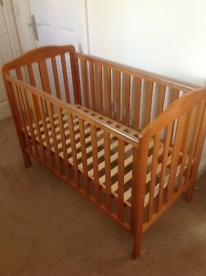 Mothercare Wood Cot In Pine With Mattress And Protector Sheet