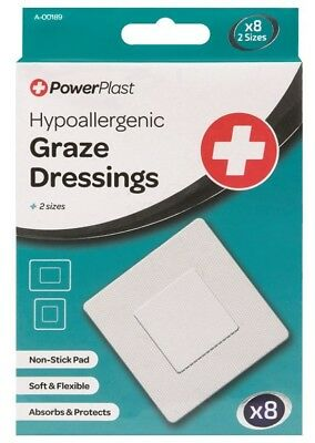 Hypoallergenic Graze Dressings 8 Pack 2 Sizes Non-stick Pad Soft Flexible Absorb