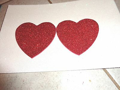 Nipple Covers/ Pasties Water Resistant Glitter Red Hearts