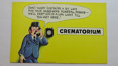 1960s Vintage Comic Postcard Black Humour Crematorium Funeral Director Death