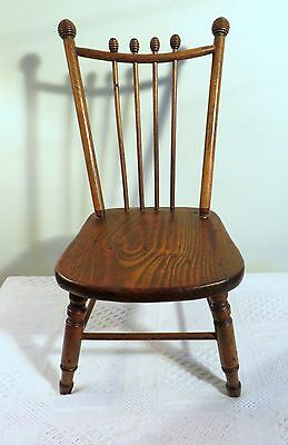 "Antique Vintage Wooden Child's 21"" Chair Solid Wood Center  Ribbed Spindles"