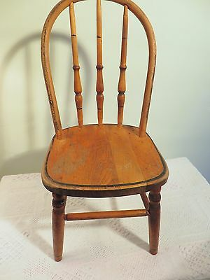 "Antique Vintage Wooden Child's 23"" Chair Solid Wood Center  Turned  Spindles"
