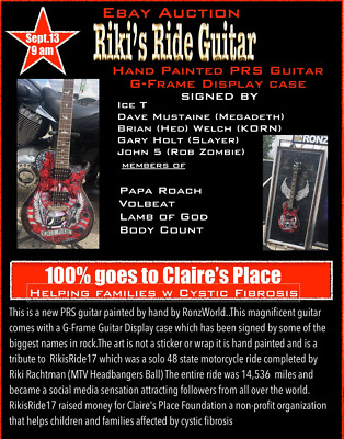 Hand Painted RIKIS RIDE PRS guitar signed by Ice T,Dave Mustaine, John 5, & more