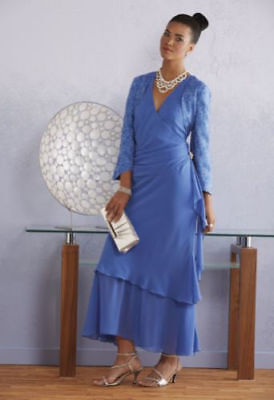 Blue Formal Wedding Mother of the Bride Jacket Dress Church Party Size 10 12 16