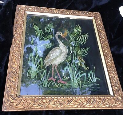Unique Late 19th Early 20th Cent. Stork Painting on Velvet in Original Frame