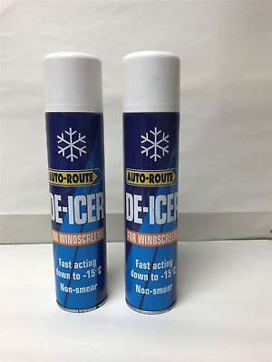 2 x Auto-Route DE-ICER 300mls - Fast Acting Non-Smear For Windscreens (-15c)