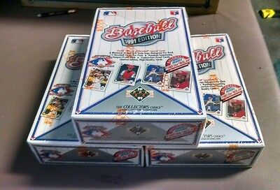 3 BOX LOT - 1991 UPPER DECK Baseball Factory Sealed 3 Wax Boxes - 108 Packs
