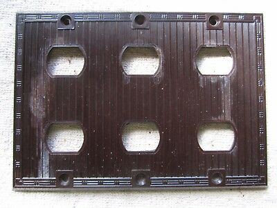 Vintage Bryant Brown Bakelite Triple Gang 6 Despard Outlet / Switch Cover Plate
