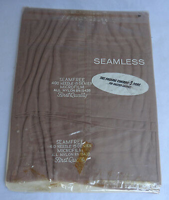 Three (3) Pairs NOS SEAMLESS 100% Nylon Stockings First Quality Sealed  Package