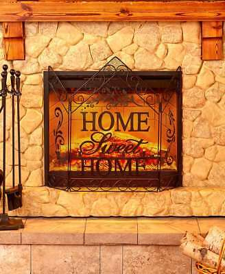Fireplace Screens Metal Panel Decorative Art Home Sweet Home Nativity & Snow New