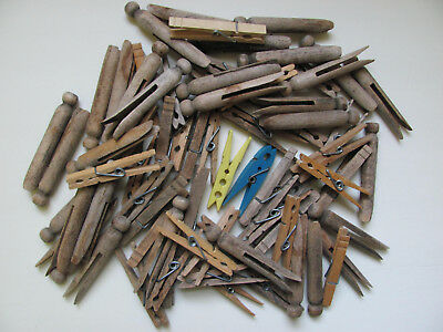Antique/vintage Clothes Pins Wooden-81 Total-30 Round Head, 49 Spring, 2 Plastic