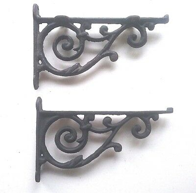 "Black Cast Iron fancy Scroll lipped Shelf Wall Brackets  7 1/2"" x 4 5/8"" pair!!!"