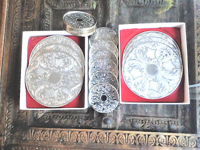 Vintage Silver Plate Set: 6 Place Mats 6 Coasters,+ Bottle Stand, Pepper & Hope
