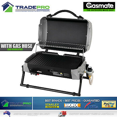 Portable BBQ Gas Barbecue Gasmate Cruiser PRO Grill Caravan Cooker Burner W/Hose