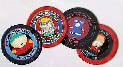 South Park Set of 4 Beer Drink Coasters W/ Tin Case 2003 Series 1 MINT