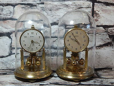 Matched pair of vintage Bentima anniversary mantle / desk clocks with domes KS
