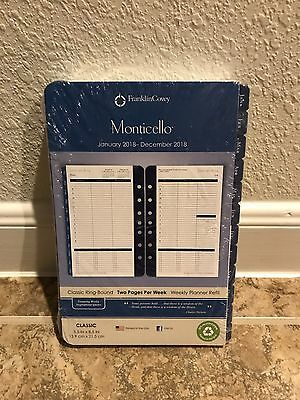 Franklin Covey Monticello 2018 Planner Refill 2 Page Per Week Size 4 Classic Blu