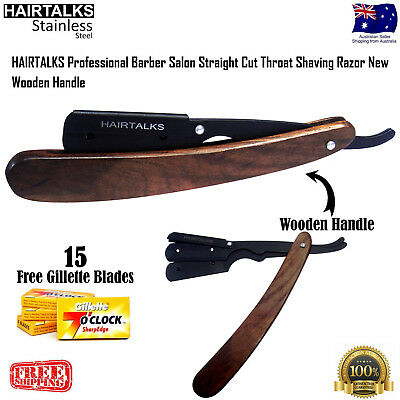 Professional Barber Salon Straight Cut Throat Shaving Razor Wooden Handle, NEW