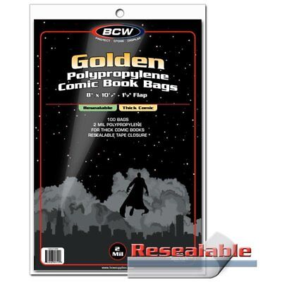 100 Bags BCW Resealable Golden Comic Bags-Thick 2 Mill Poly. 8 x 10 1/2 (#CS129)