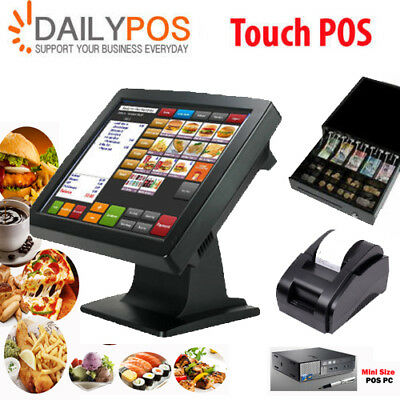 Touch Screen POS System Restaurant Cafe Pizza Fish Chips Takeaway Cash Register