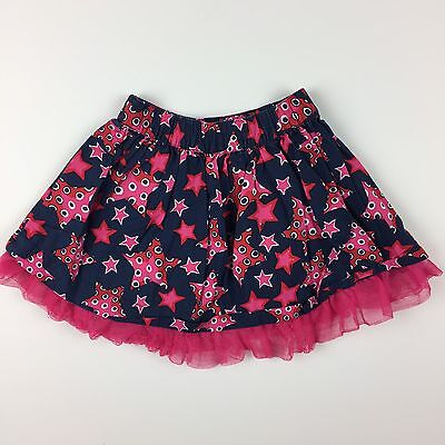 Hanna Andersson Baby Girl Skirt Size 80 10-18 MOS Blue Red and Pink Stars Ruffle