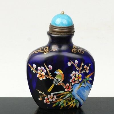 China Exquisite Handmade Flowers and birds pattern Glass snuff bottle