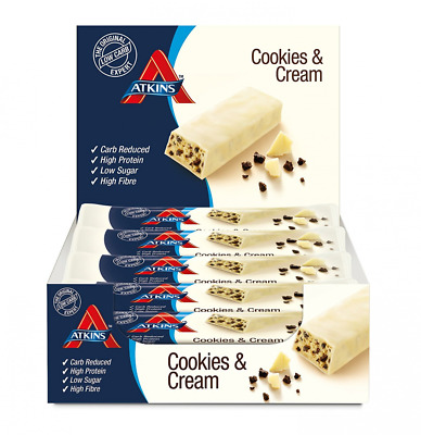 Cookies And Cream Low Carb Low Sugar High Protein Snack Bar 15 X 30g By Atkins