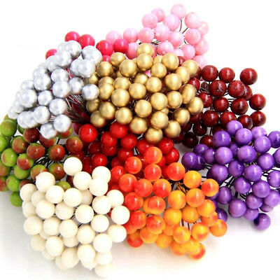 40Pcs on 1 Bunch Artificial Berries Lifelike Fake Fruit Food Home Decor Perfect