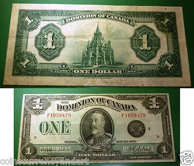 """Dominion Of Canada - 1923 $1 - Scarce F series - """" DC-25o"""" -LargeSize  Banknote"""