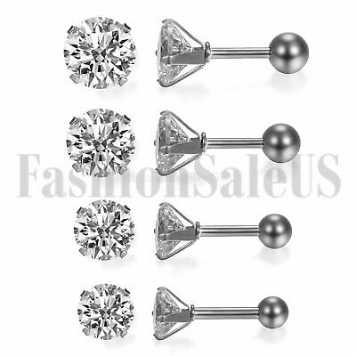 3-6mm Round Cubic Zirconia Stainless Steel Ear Stud Piercing Barbell Earrings