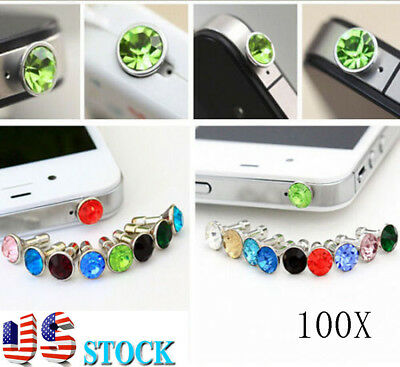 USA Stock! 100X Diamond Bling Charm Anti Dust Proof Plug 3.5mm For Apple Android
