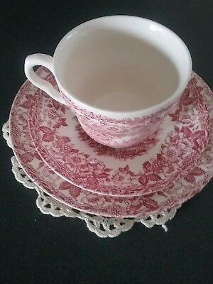 """""""Pink Willow"""" trio...cup..saucer..plate set...Ironstone...England"""
